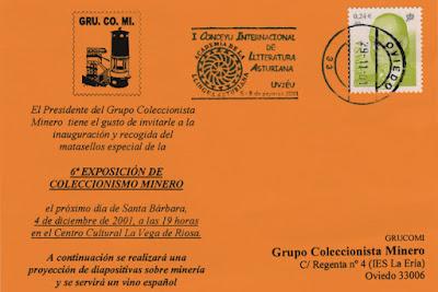 Tarjeta del rodillo del I Congreso Internacional del Literatura Asturiana en Oviedo