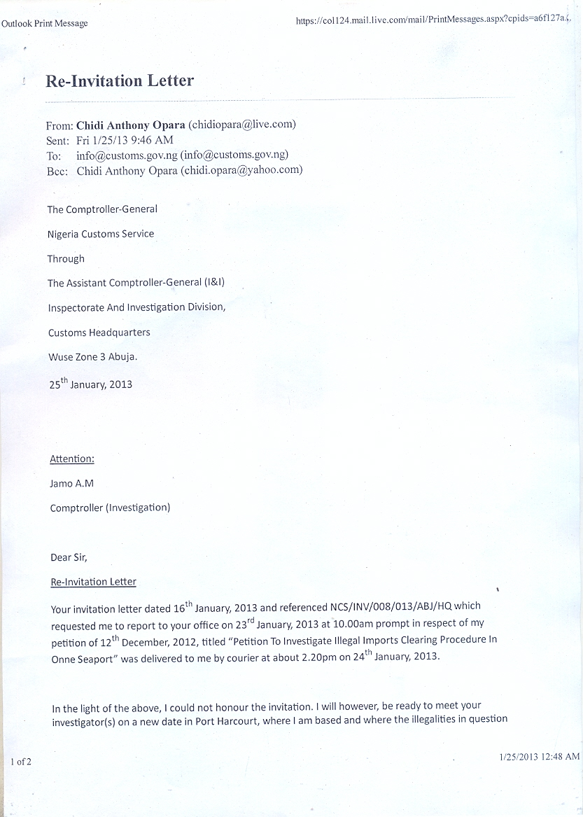letter of invitation to nigeria format chidi opara reports special report the petition nigeria 25709 | re invitation letter. pg1