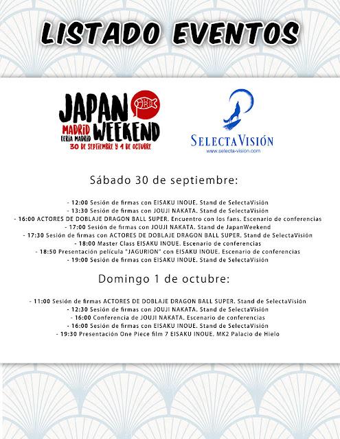 """Agenda de SelectaVisión para el """"Japan Weekend Madrid""""."""