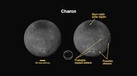 Obrazy Charona, największego księżyca Plutona ujawniły obecność ciemnych regionów w obszarach biegunowych, prawdopodobne kratery uderzeniowe oraz klify i przepaście. (Credit: NASA)