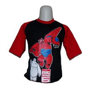 Kaos Raglan Anak Karakter Big Hero 6 Hitam (KAK-BGH-01)