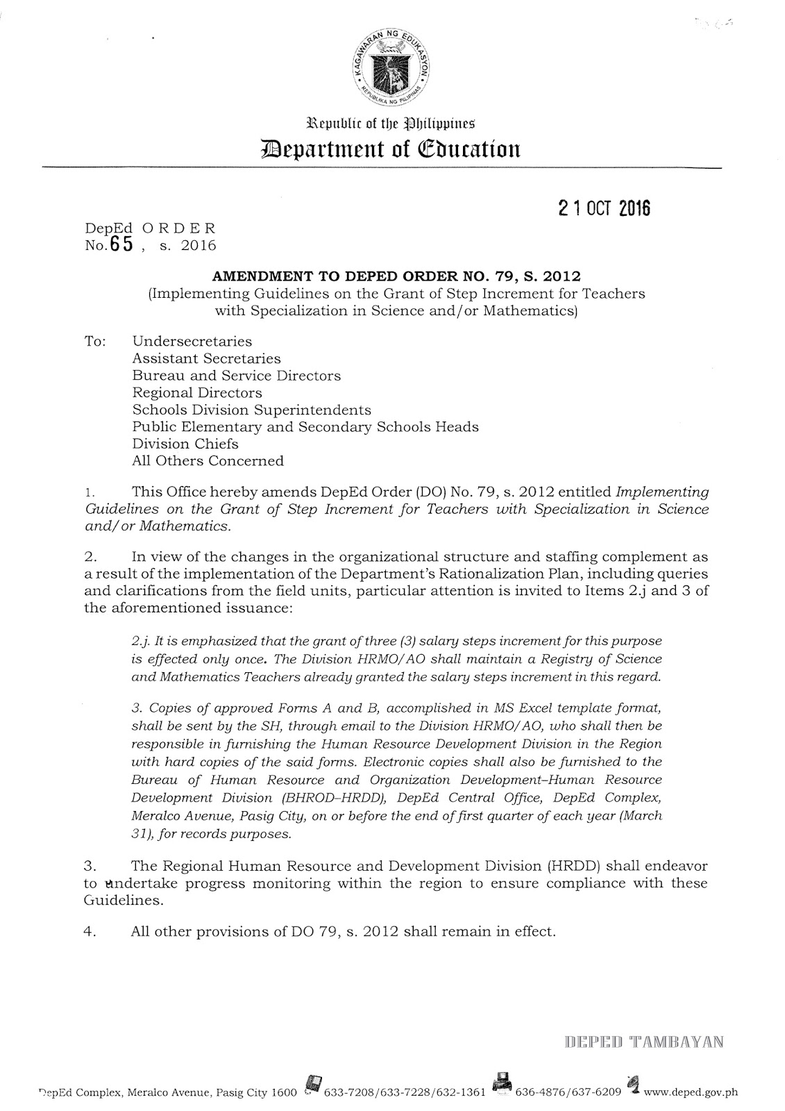 ammendment to implementing guidelines on the grant of salary ammendment to implementing guidelines on the grant of 3 salary steps increment for teachers specialization in science and or mathematics