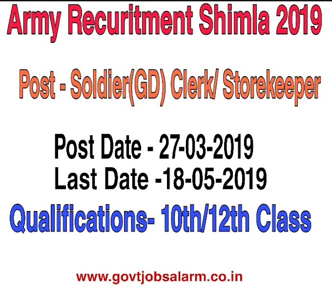 Indian Army Recuritment 2019 Office Shimla