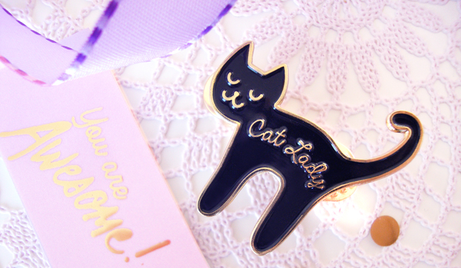 cat lady, pin set, giveaway