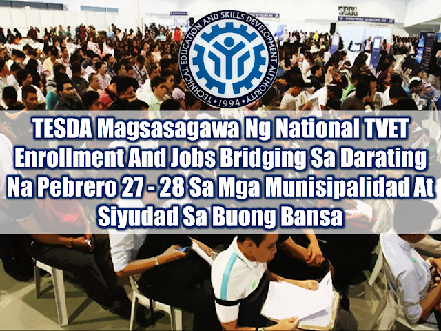 Technical Education and Skills Development Authority (TESDA) is bringing scholarship grants closer to those who want to avail free technical-vocational (tech-voc) courses and TESDA graduates who want to find jobs through two days of National Technical and Vocational Education and Training (TVET) Enrollment and Jobs Bridging this coming 27th and 28th day of February 2018. It will be held simultaneously in every center of the provinces, municipalities and every districts in places such as capitols, malls, LGU sports complexes, municipal or provincial stadiums and places most accessible to the public. TESDA Director General Guiling Mamondiong explained that TESDA's goal is to bring its different programs and services with the help of local government units and their officials.    Sponsored Links     Enrollment is open for Filipinos with ages 15 and above who are interested in taking up technical-vocational courses under TVET programs. important documents to bring are as follows: —Valid IDs like NSO Birth certifcate and others —1x1 ID pictures   For the TESDA graduates who will join the job s bridging and job fair which will be integrated with the enrollment, they need to bring their TESDA certificates and bio-data.  Director General Mamondiong has also revised the granting of TESDA scholarship program to assure that the new scholars will have better learning and training. Its goal is to equip the scholars about modern technology and global  competitiveness in line with what the global market demands.  Advertisements  Read More:  What Is Assumption Of Mortgage And How To Avail From SSS    Things You Need to Know About Senior Citizen's Benefits   Body Of Household Worker Found Inside A Freezer In Kuwait; Confirmed Filipina  Senate Approves Bill For Free OFW Handbook    Overseas Filipinos In Qatar Losing Jobs Amid Diplomatic Crisis—DOLE How To Get Philippine International Driving Permit (PIDP)    DFA To Temporarily Suspend One-Day Processing For Authentication Of Documents (Red Ribbon)    SSS Monthly Pension Calculator Based On Monthly Donation    What You Need to Know For A Successful Housing Loan Application    What is Certificate of Good Conduct Which is Required By Employers In the UAE and HOW To Get It?    OWWA Programs And Benefits, Other Concerns Explained By DA Arnel Ignacio And Admin Hans Cacdac     SUBSCRIBE TO OUR YOUTUBE CHANNEL   ©2018 THOUGHTSKOTO  www.jbsolis.com   SEARCH JBSOLIS, TYPE KEYWORDS and TITLE OF ARTICLE at the box below