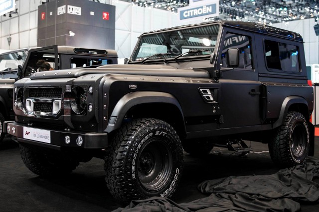 New Land Rover  defender by Khan Design Motor show front side view