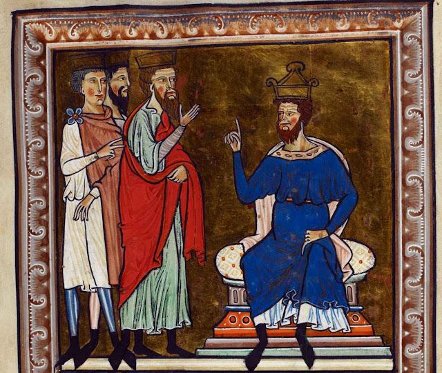 Herodes recebe os três Reis Magos. British Library Royal 1 D X, f2.
