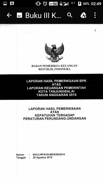 Buku pemeriksaan BPK untuk Kota Tanjungbalai.