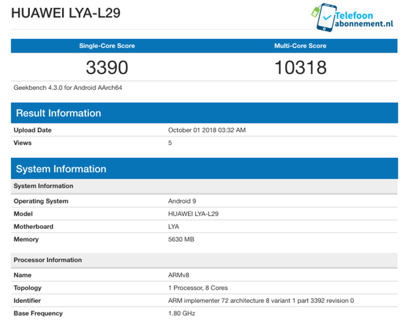 The possible Geekbench score of Mate 20