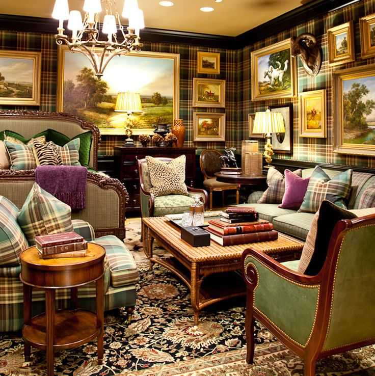 Eye For Design Decorating With Plaid Covered Walls