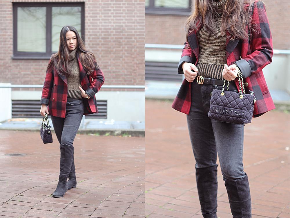 Outfit: Mantel mit schwarzer Valentino-Tasche
