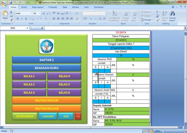 Aplikasi Daftar Satu dan Keadaan Guru Sekolah Format Microsoft Excel