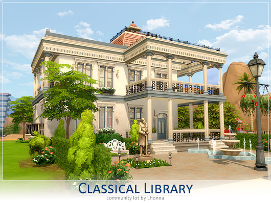 Renaissance Library Lot | Sims 4 Houses