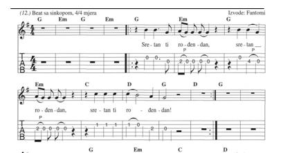 note za pjesmu sretan rođendan AKUSTIČNA GITARA |: FANTOMI SRETAN RODJENDAN AKORDI NOTE TABOVI note za pjesmu sretan rođendan