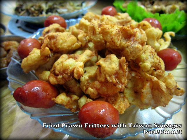 Fried Prawn Fritters with Taiwan Sausages