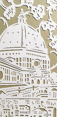 Detail of a custom papercut ketubah made to commemorate the destination wedding to Italy. Woodland Papercuts by Naomi Shiek