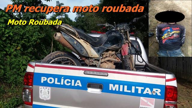 EM SANTARÉM POLICIA MILITAR RECUPERA MOTOCICLETA ROUBADA