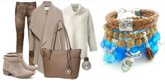 Stylizacja ubrań w camelu i karmelu z bransoletkami z jaspisu i szkła weneckiego.