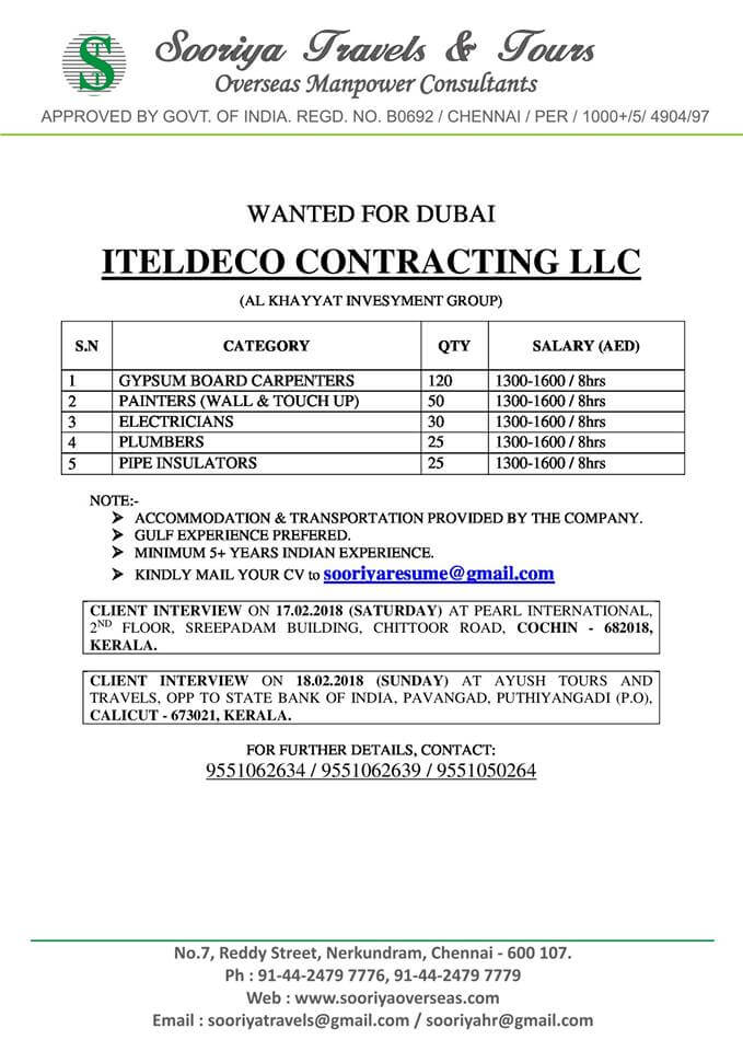 Gulf Job - Wanted For ITELDECO CONTRACTING LLC Co, Dubai