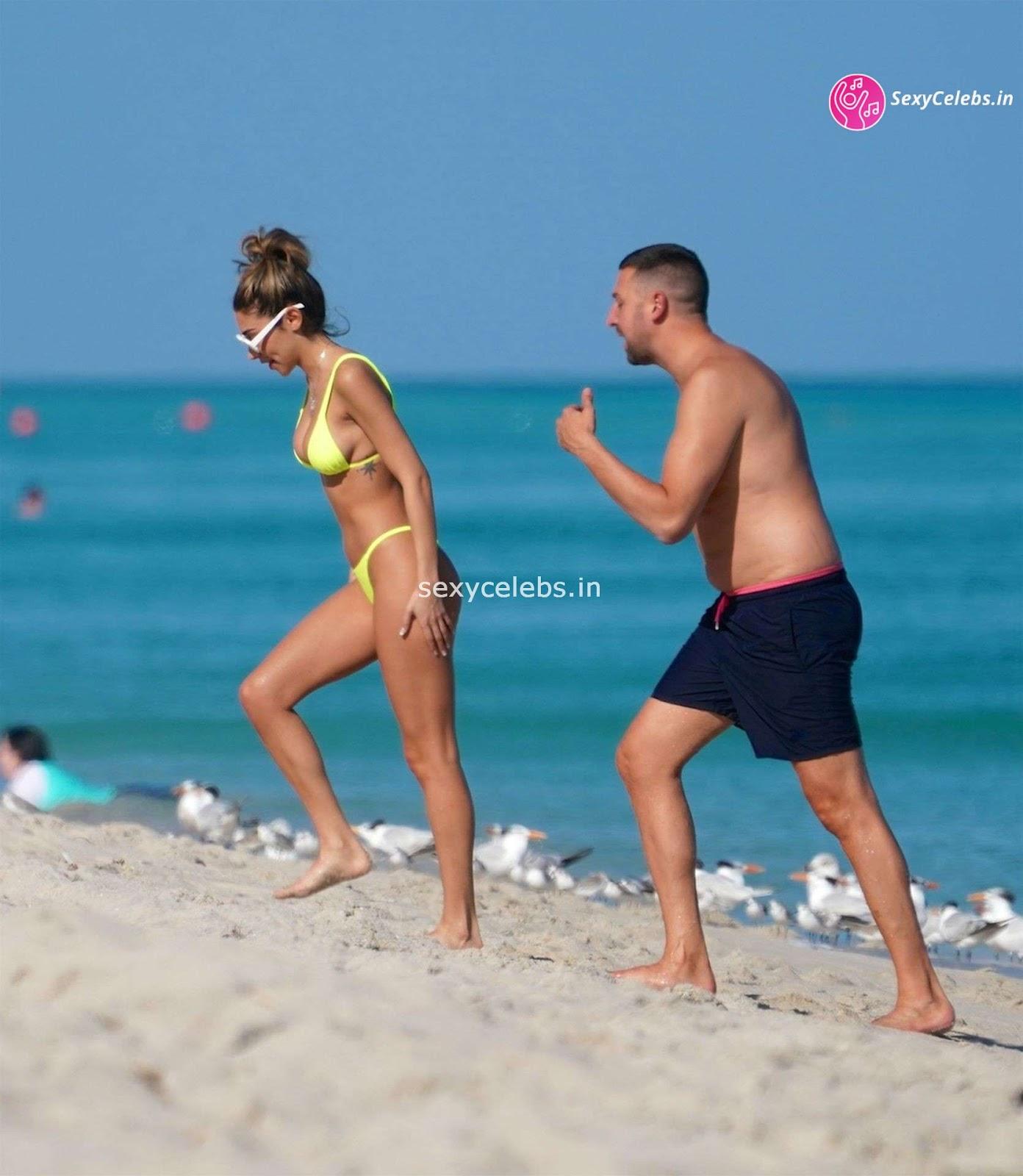 Chantel Jeffries Sexy body huge tits sexy ass in tiny yellow bikini WOW Beach Side Booty Pics