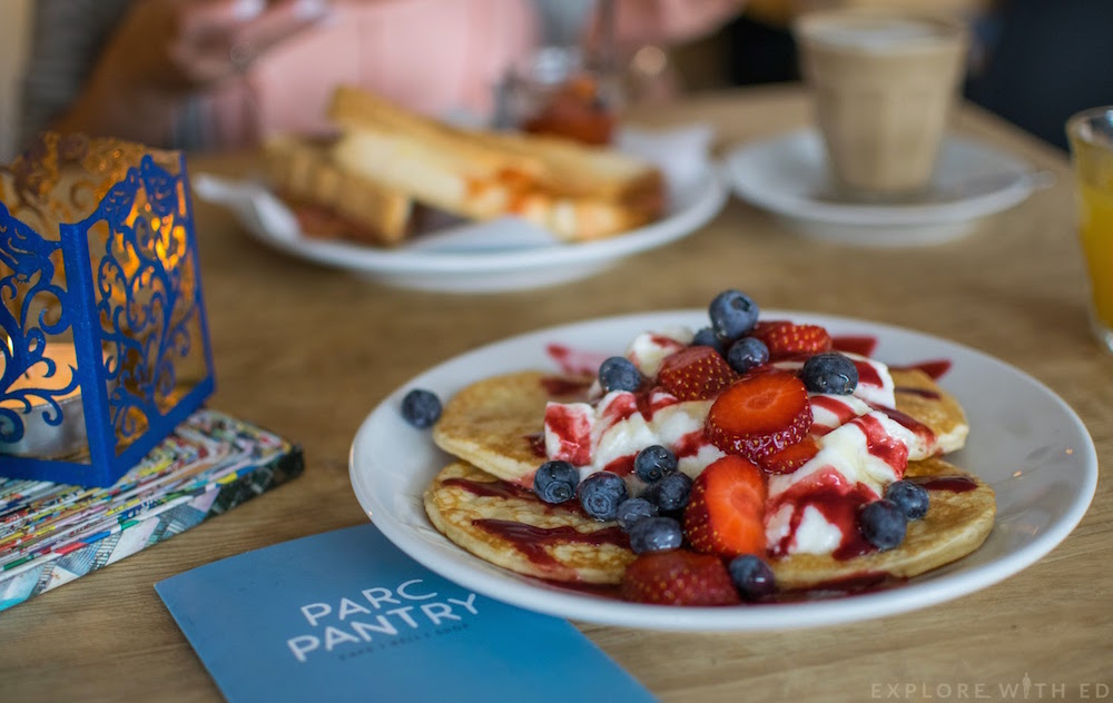 Breakfast pancakes with yogurt and berries from Parc Pantry in Malpas Newport