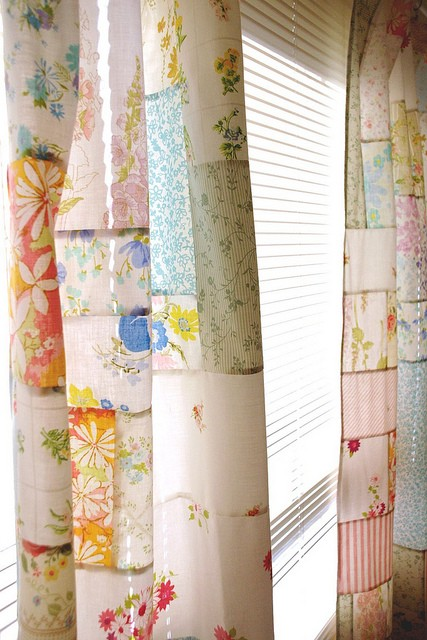 Things to sew - vintage sheet patchwork curtains