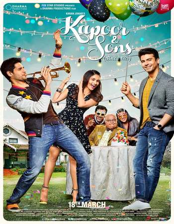 Poster Of Kapoor and Sons 2016 Hindi 170MB BRRip HEVC Mobile ESubs Watch Online Free Download Worldfree4u
