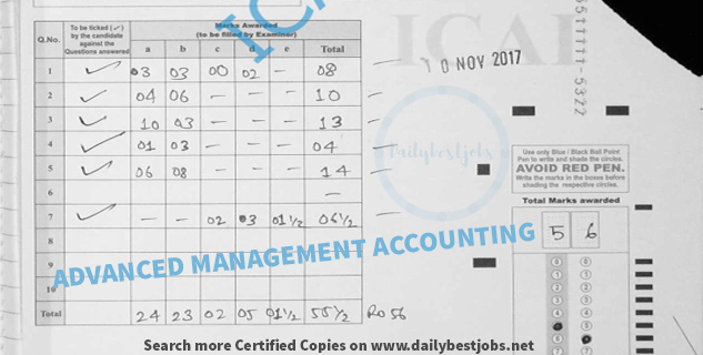 ca final Advanced Management Accounting certified copies Nov 2017
