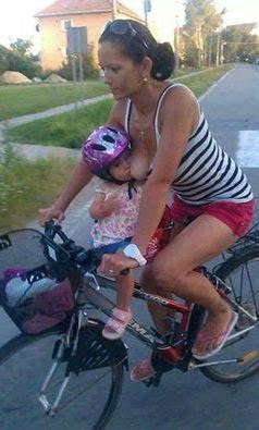 SEE PIC: Woman Seen Breastfeeding Her Child While Cycling
