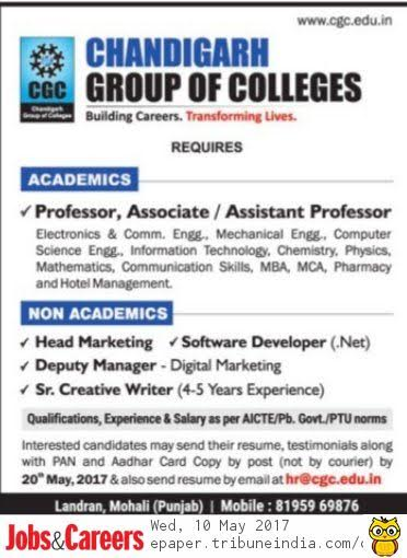 chandigarh group of colleges wanted professor associate professor