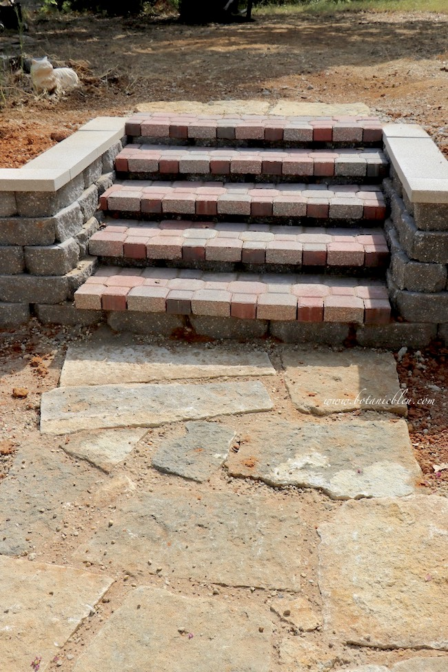 New Backyard Retaining Wall Steps With Existing Flat Stone Walkway