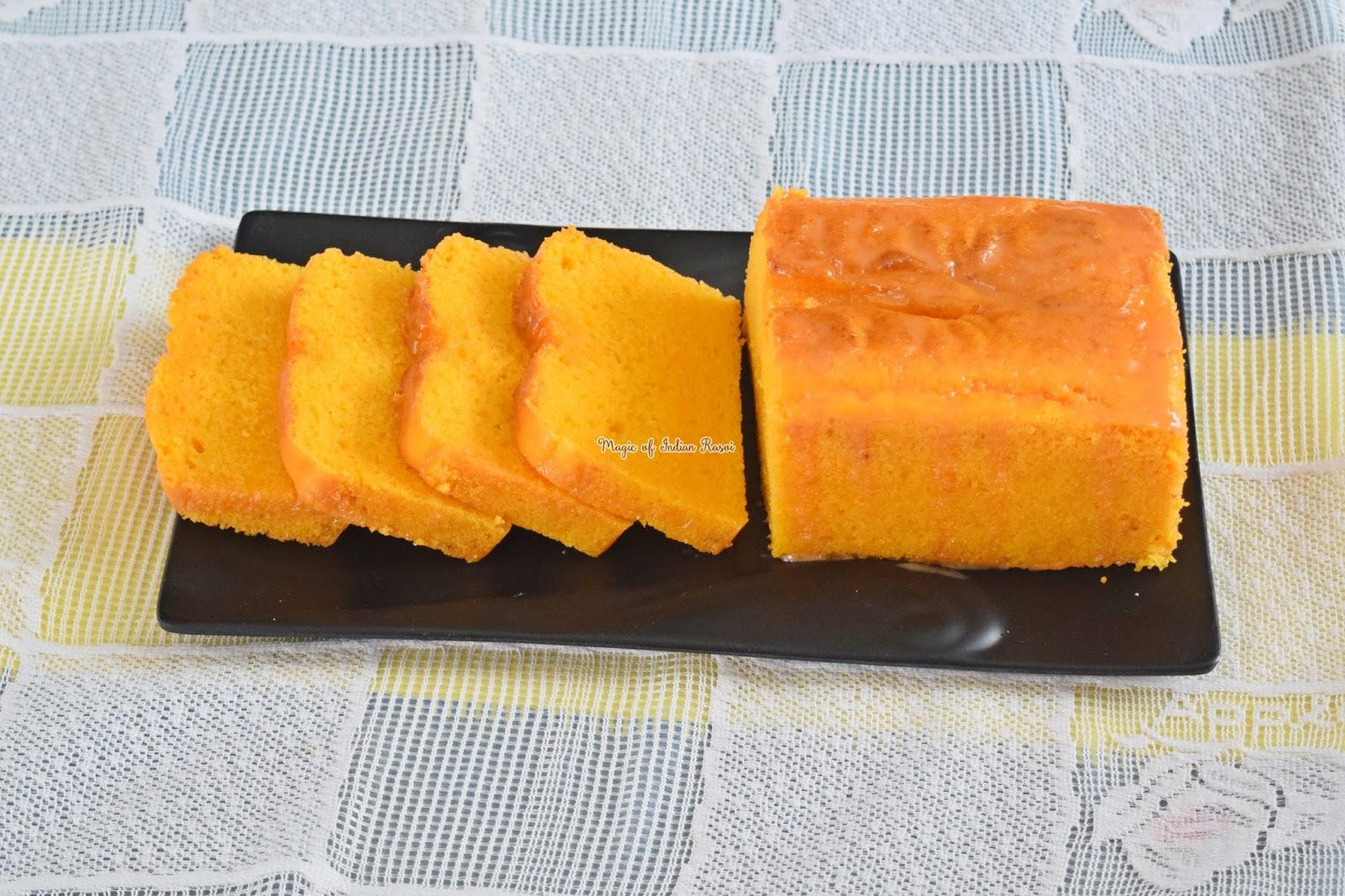 Cheesy Orange Tea Time Cake (Eggless) Recipe - चीसी ऑरेंज टी टाइम केक (एगलेस) रेसिपी - Priya R - Magic of Indian Rasoi