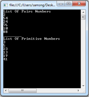 Primitive And Pairs Numbers In C#
