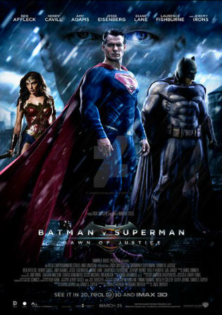 Poster of Batman v Superman Dawn of Justice (2016) HDTS Dual Audio 720p