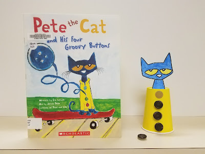 Pete the Cat book and prop, made with a cup, Pete the Cat picture, and removable buttons