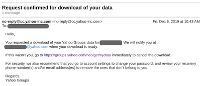 Email confirmation Yahoo Groups download request