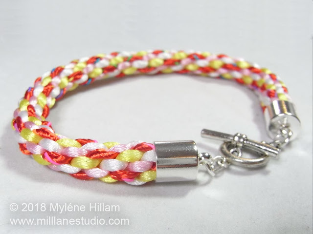 Candy coloured kumihimo bracelet