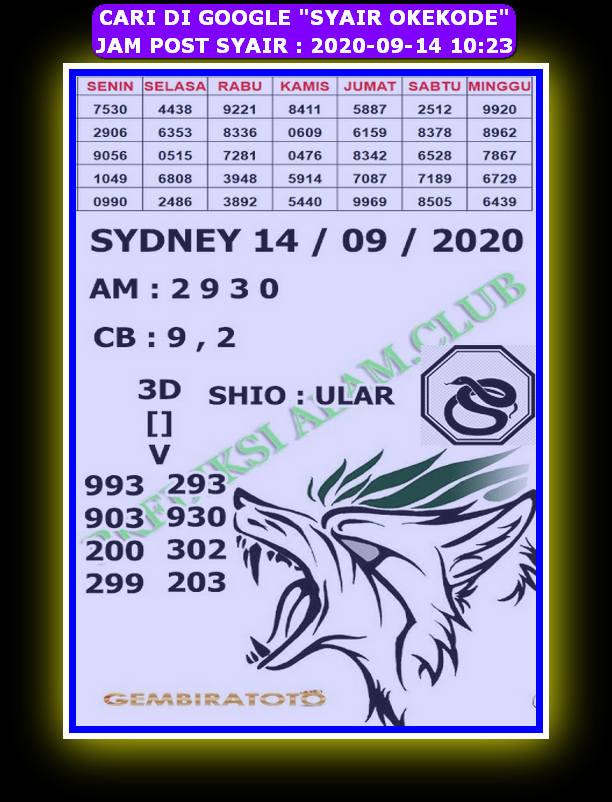 Kode syair Sydney Senin 14 September 2020 151