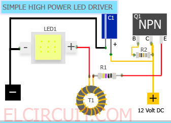 Simple 10W High Power LED Driver Circuit  Electronic Circuit