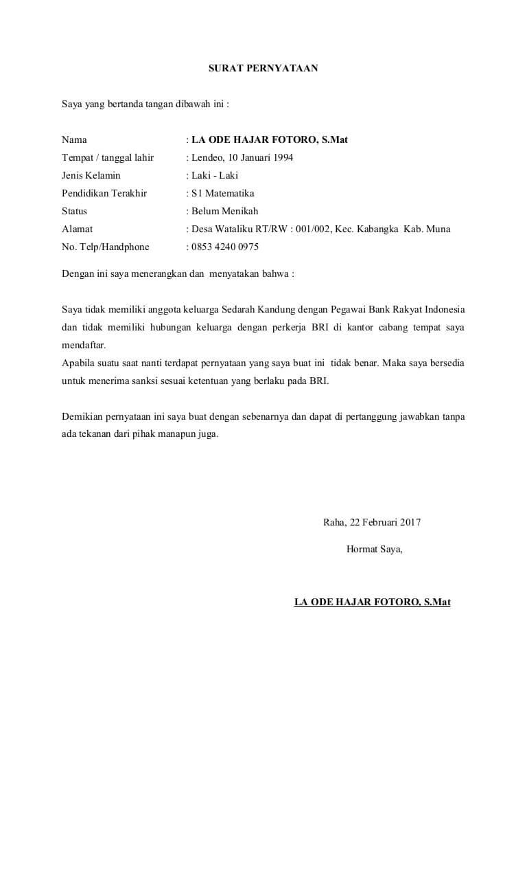 7++ Contoh Surat Pernyataan Tidak Memiliki Hubungan ...