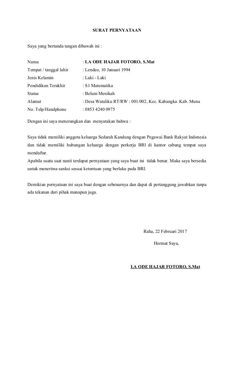 7 Contoh Surat Pernyataan Tidak Memiliki Hubungan Keluarga