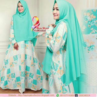 Satu Set Gamis Monalisa Plus Khimar Bubblepop Green