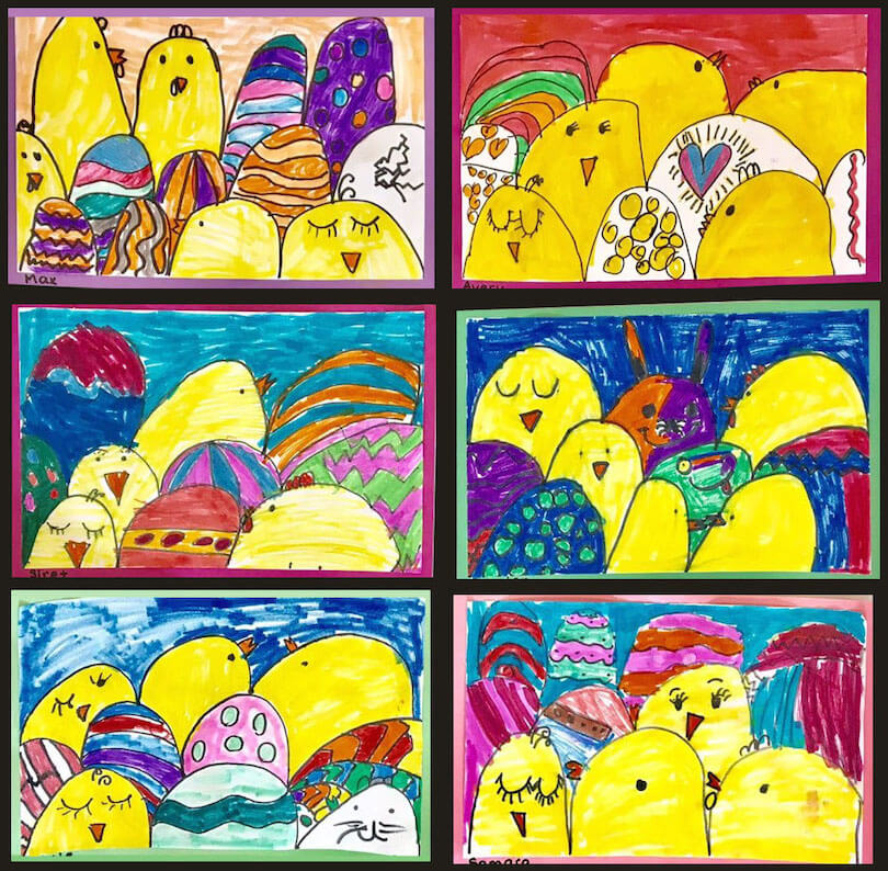 Eggs and Chicks Art  by a 1st Grade Class