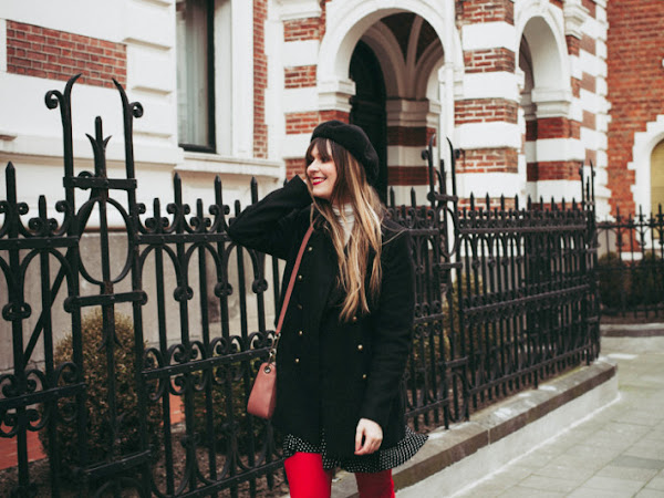 Outfit: red tights and boots