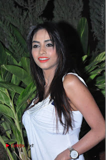 Actress Model Pooja Sri Stills in White Short Dress at F Club pre soft Launch  0054.JPG