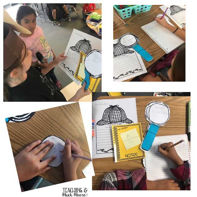 context clues, detective day, anchor charts, activities, hands on