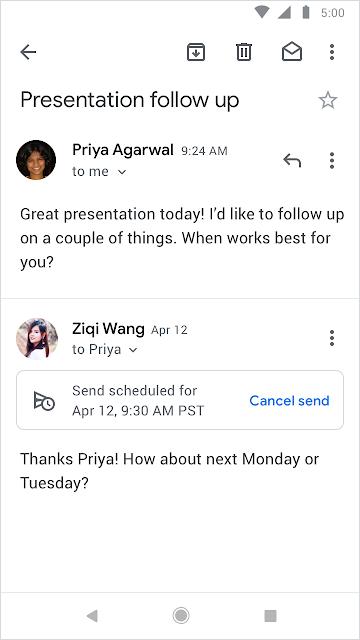 """screen shot of """"scheduled"""" send in Gmail"""