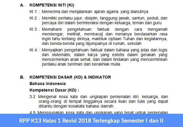 RPP K13 Kelas 1 Revisi 2018 Terlengkap Semester I dan II