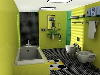 Diseño baño verde