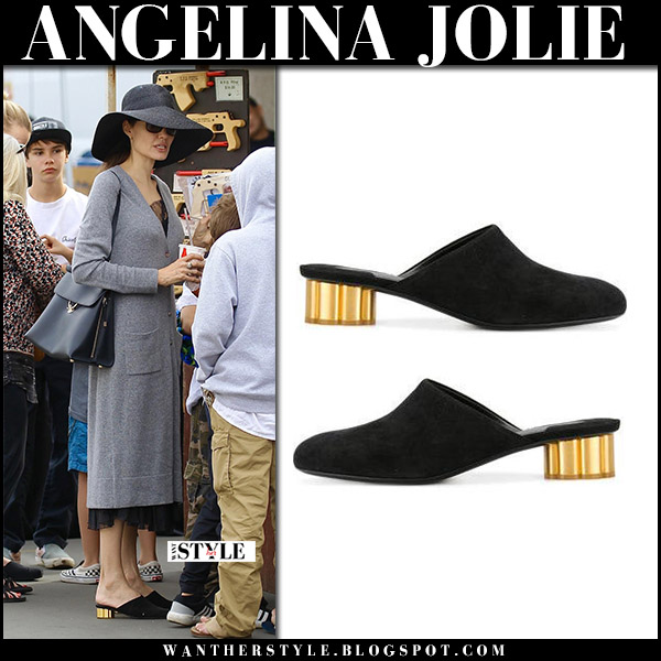 Angelina Jolie in black suede gold heel mules salvatore ferragamo and grey cardigan chic street style december 10